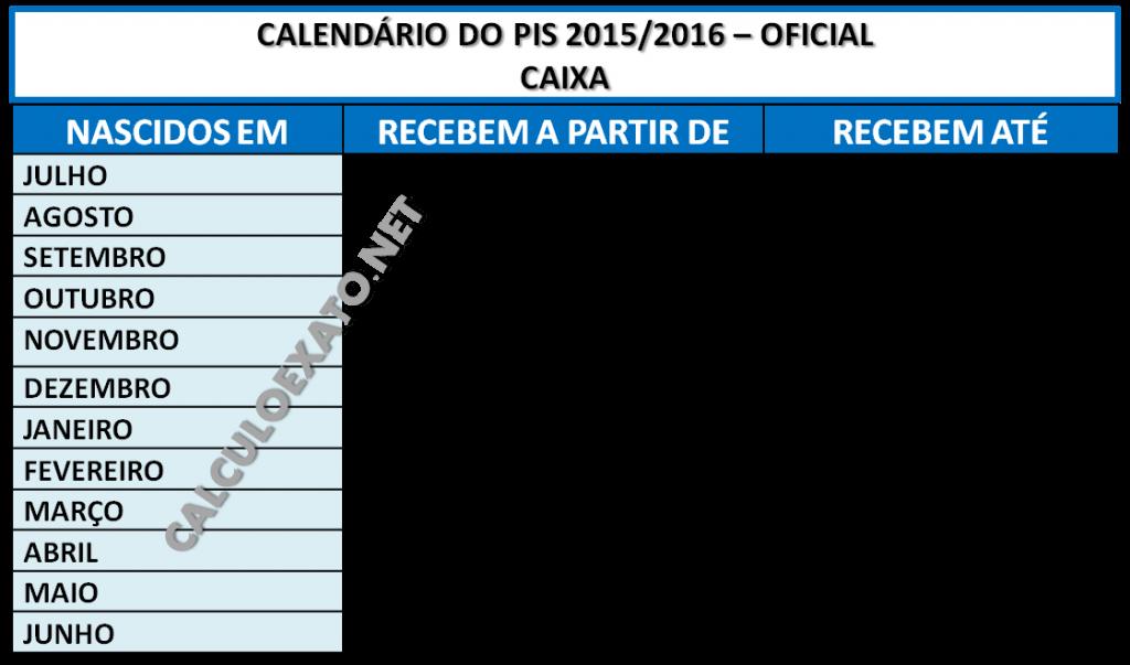 Calendario do PIS 2015 CAIXA