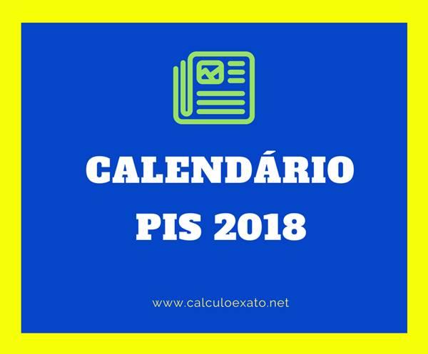 Calendário do PIS 2018